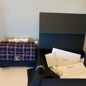 chanel tweed 19 large flap bag -🌟100% Authentic